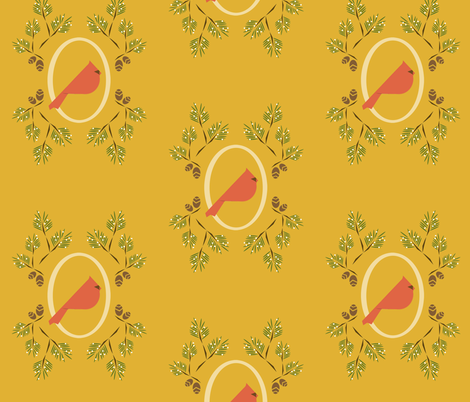 Yellow red winter bird fabric by langdon on Spoonflower - custom fabric