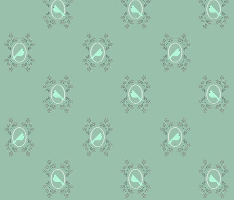 Minty winter bird fabric by langdon on Spoonflower - custom fabric
