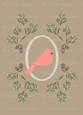 Neutral pink winter bird
