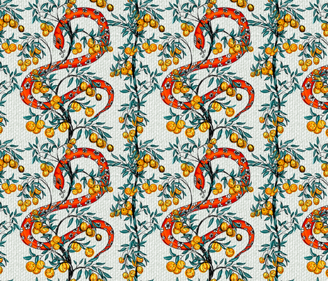 Snake and Orange Trees fabric by diane555 on Spoonflower - custom fabric