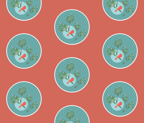 Winter bird aqua coral fabric by langdon on Spoonflower - custom fabric