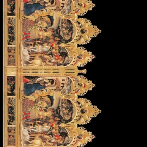 The Nativity Scene Double Border Print ~ Ebony