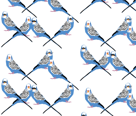 Mustaches - Parakeets Looking at You - Blue fabric by owlandchickadee on Spoonflower - custom fabric