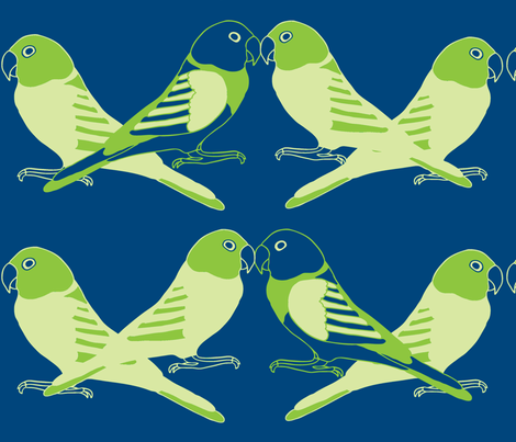 Botanic & Birds - Flock-Dk Blue, Green fabric by owlandchickadee on Spoonflower - custom fabric