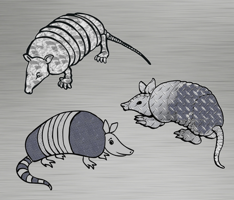 ARMADILLO ARMOUR PILLOW fabric by bluevelvet on Spoonflower - custom fabric