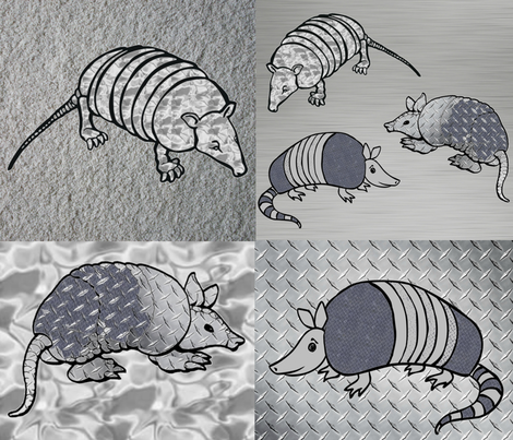 ARMADILLOS IN ARMOUR CHEATER QUILT fabric by bluevelvet on Spoonflower - custom fabric