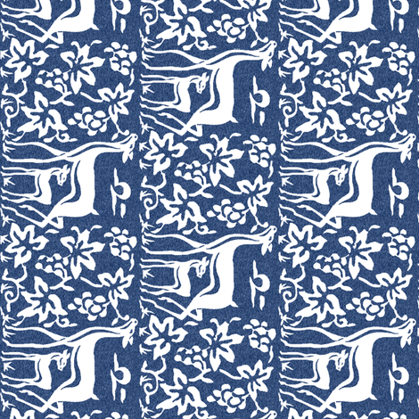 Arts & Crafts deer and grapes - white on indigo fabric by mina on Spoonflower - custom fabric