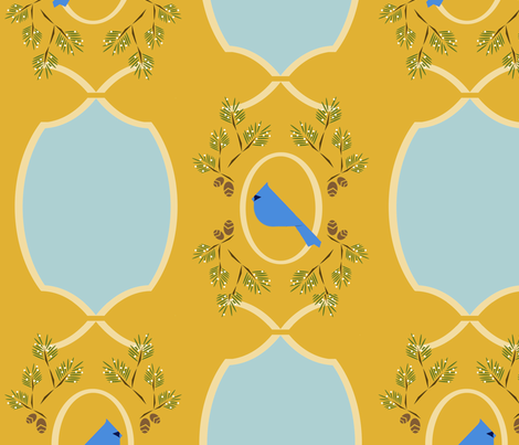Yellow  blue Victorian bird fabric by langdon on Spoonflower - custom fabric