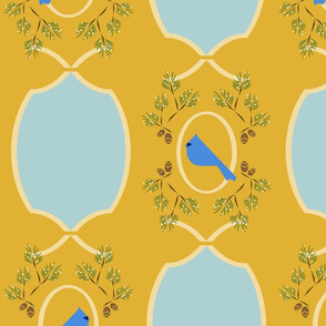 Yellow  blue Victorian bird