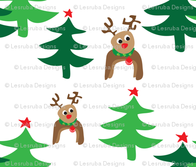 Reindeers and Christmas Trees