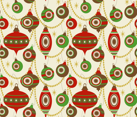 Sassy Striped Swags ~ Berries, Pine and Bark fabric by retrorudolphs on Spoonflower - custom fabric