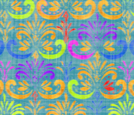 damask_stencil_bright_ikat fabric by crystal_walen on Spoonflower - custom fabric
