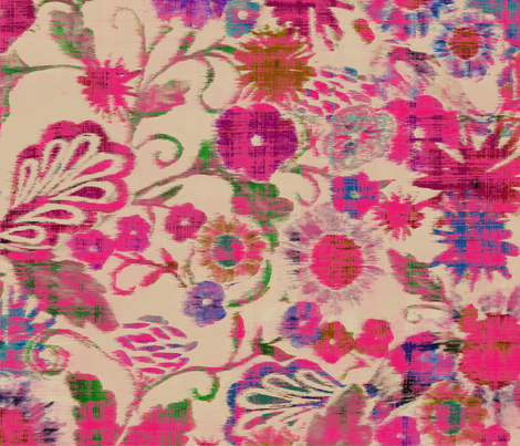 pink_ikat_floral fabric by silverkaos on Spoonflower - custom fabric