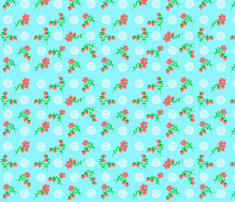 Blue Asian_Rose fabric by almost_vintage on Spoonflower - custom fabric