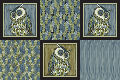 owl cushions fabric by cjldesigns on Spoonflower - custom fabric