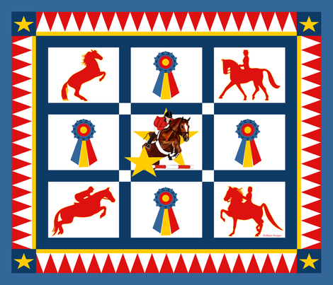 English_Equestrian_Champion_Quilt_Top fabric by dehaan_designs on Spoonflower - custom fabric
