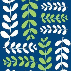 Olive Branches 2 (midnight sky blue, granny apple green &amp; white)