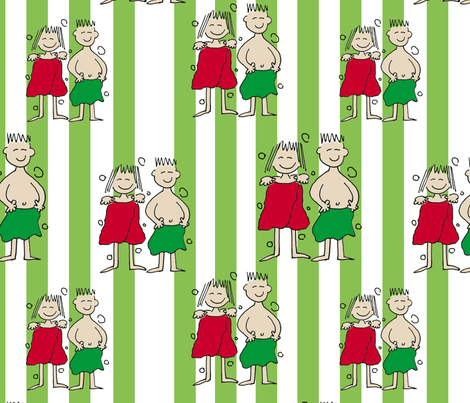 Christmas Couple in Holiday Bath Towels fabric by lesrubadesigns on Spoonflower - custom fabric
