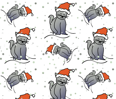 Christmas Cats fabric by lesrubadesigns on Spoonflower - custom fabric