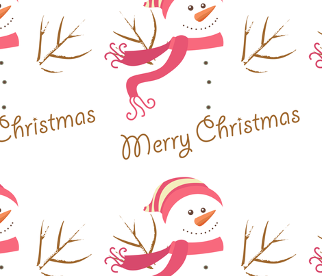 Snowman Merry Christmas fabric by lesrubadesigns on Spoonflower - custom fabric