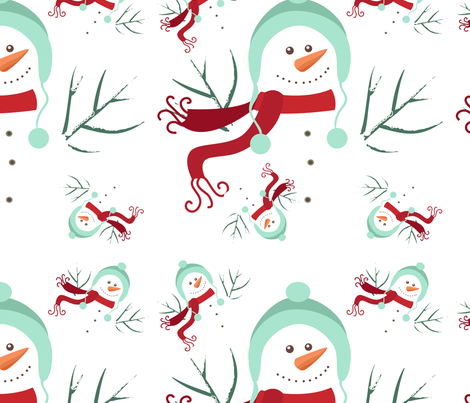 Holiday Snowmen fabric by lesrubadesigns on Spoonflower - custom fabric