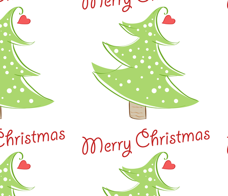 Christmas Tree Merry Christmas fabric by lesrubadesigns on Spoonflower - custom fabric