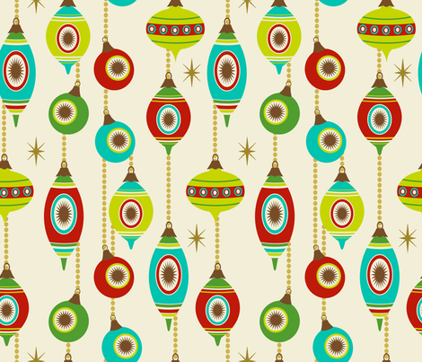 Striped Vintage Baubles ~ Pine, Berries and Citrus fabric by retrorudolphs on Spoonflower - custom fabric