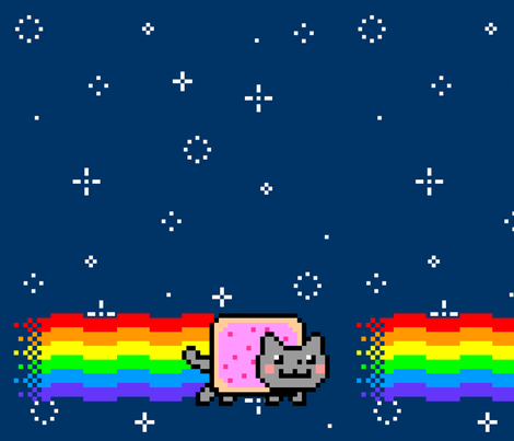 Nyan Cat Re-Pixeled - Basic Layout fabric by vanityblood on Spoonflower - custom fabric
