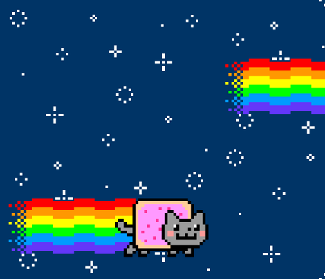 Nyan Cat Re-Pixeled - Half Drop Layout fabric by vanityblood on Spoonflower - custom fabric