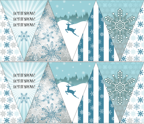 A Beautiful Day for a Snowball Fight - Bunting fabric by risarocksit on Spoonflower - custom fabric