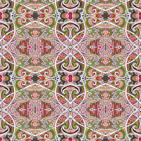 Peachy Keen Ornate Diamond Tile Patches fabric by edsel2084 on Spoonflower - custom fabric