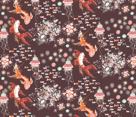 Chocolate Sea Repeat fabric by ghostkitten on Spoonflower - custom fabric