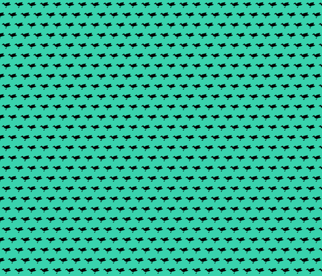 Birdsong - Black on Aqua (Half-Brick) fabric by lisulle on Spoonflower - custom fabric