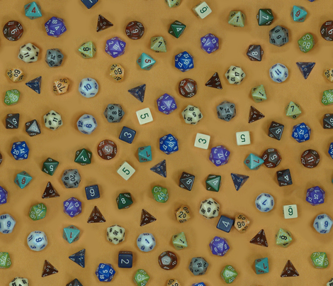 Gamer dice brown fabric by spacefem on Spoonflower - custom fabric