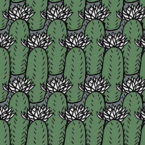 Flowering Cactus fabric by pond_ripple on Spoonflower - custom fabric