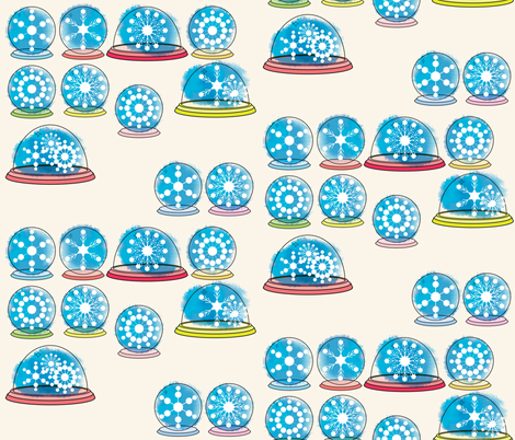 Snowglobes -  Ivory fabric by owlandchickadee on Spoonflower - custom fabric