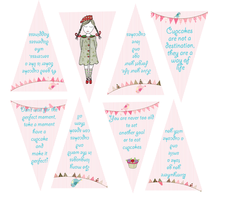 Quotation Cupcake Collection Bunting fabric by evelynrosedesigns on Spoonflower - custom fabric