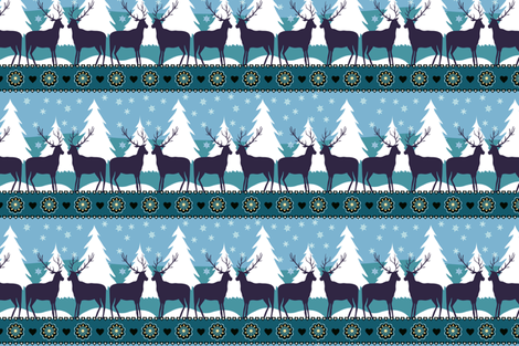 Reindeers in the snow fabric by kezia on Spoonflower - custom fabric