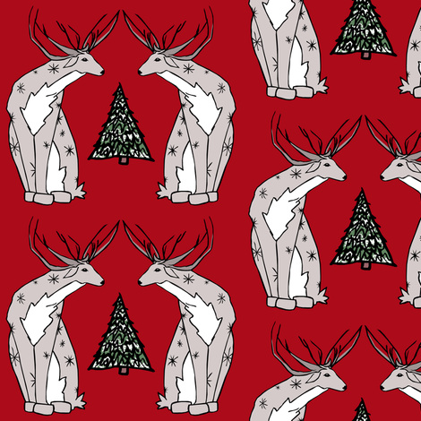 Reindeer fabric by pond_ripple on Spoonflower - custom fabric