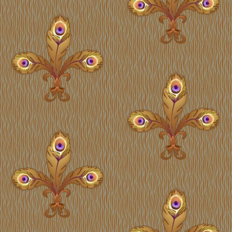 peacock_fleurdeli2_toast-ed fabric by glimmericks on Spoonflower - custom fabric