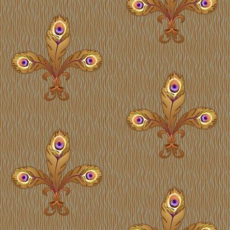 peacock_fleurdeli2_toast-ed fabric by glimmericks on Spoonflower - custom fabric