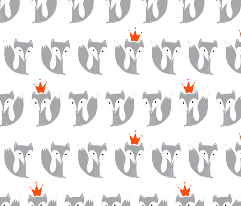 King Fox in grey fabric by emilyannstudio on Spoonflower - custom fabric
