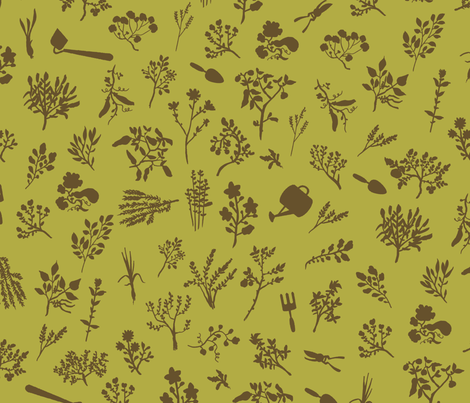 Grow Great Grub - Olive & Brown fabric by fluffco on Spoonflower - custom fabric