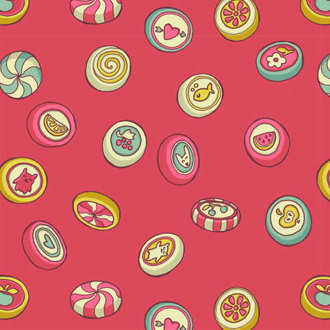 candy - no wrapper - contrasty pink fabric by celandine on Spoonflower - custom fabric