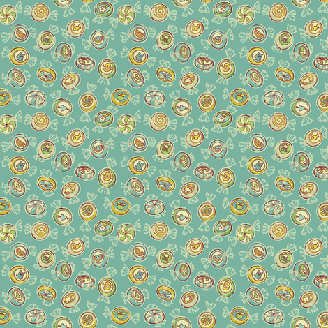 candy - vintage turquoise fabric by celandine on Spoonflower - custom fabric