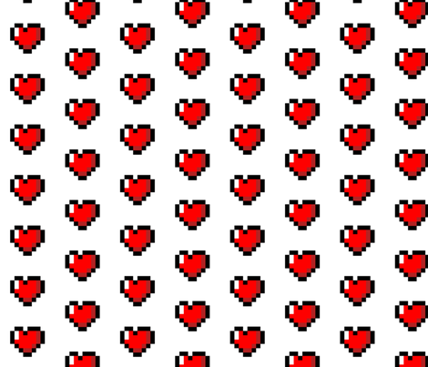 Zelda Pixel 8-Bit Heart - White fabric by vanityblood on Spoonflower - custom fabric