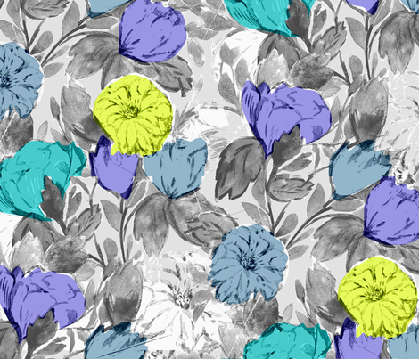 Botanical_Floral_Bright fabric by silverkaos on Spoonflower - custom fabric