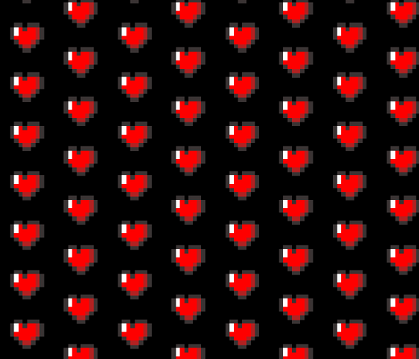 Zelda Pixel 8-Bit Heart - Black fabric by vanityblood on Spoonflower - custom fabric