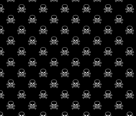 Skull and Cross Bones - Black fabric by vanityblood on Spoonflower - custom fabric