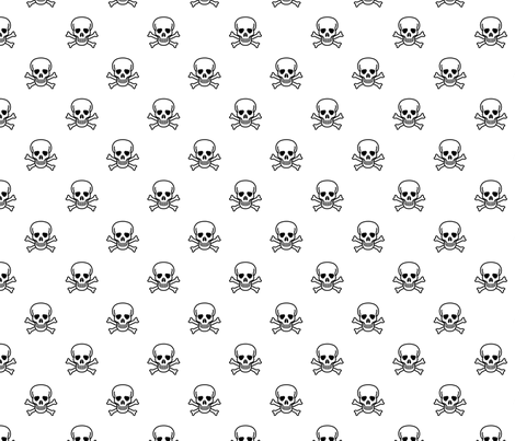 Skull and Cross Bones - White fabric by vanityblood on Spoonflower - custom fabric